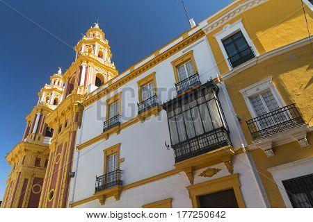 Sevilla (Andalucia Spain): facade of the historic San Ildefonso church