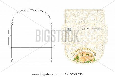 Envelope template with flap design. Easy to fold. Ready to print colorful envelope for money. Roses bouquet with golden outline . Die cut envelope layout.