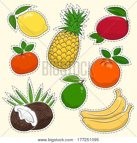Set of Tropical and Citrus Fruit Stickers, Pins or Patches, Lemon with Pineapple and Mango, Mandarin with Lime and Orange, Coconut and Banana, Vector Illustration