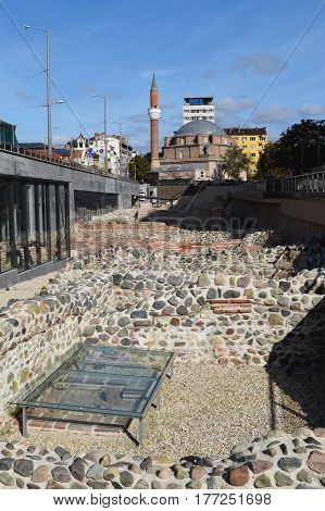 Sofia Bulgaria - October 18 2016: the mosque Banya Bashi is one of the oldest in Europe and built in 1576.