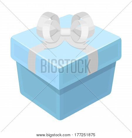 A blue gift box with a bow.Gifts and Certificates single icon in cartoon style vector symbol stock web illustration.