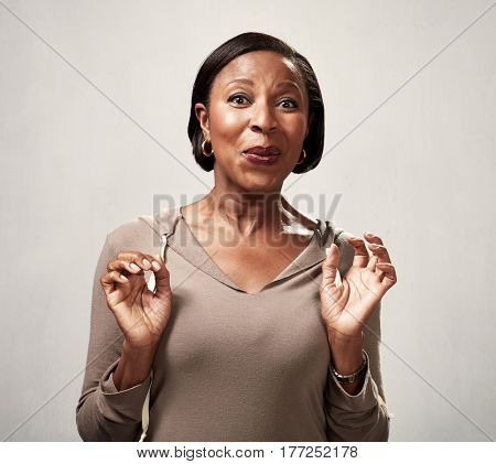 Happy surprised black woman