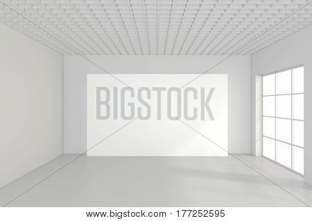 Large empty room with standing billboards. 3d rendering.