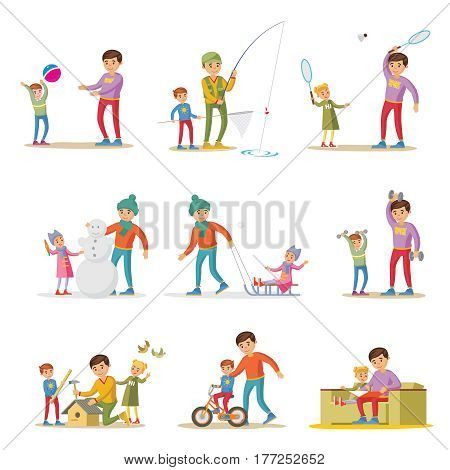 Fatherhood elements set with happy father playing fishing training working learning and reading with children isolated vector illustration