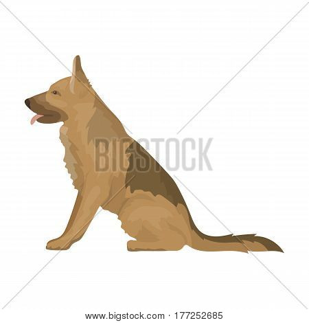 Police dog for detaining criminals. Trained shepherd for prison.Prison single icon in cartoon style vector symbol stock web illustration.