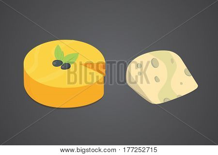 Cheese types. Modern flat style realistic vector illustration icons. Isolated vector parmesan or cheddar.