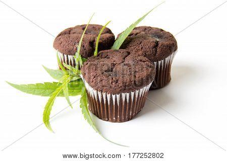 Chocolate Muffins With Marijuana Leaves