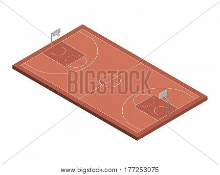 3D isometric basketball court with official dimensions. Sport theme vector illustration, athletic field, playground, stadium. Perspective view. Isolated design element for infographics, collage