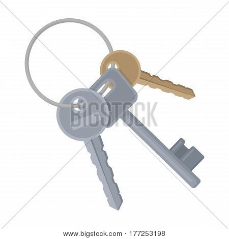 A bunch of keys from the cells in the prison. Keys for opening criminals.Prison single icon in cartoon style vector symbol stock web illustration.