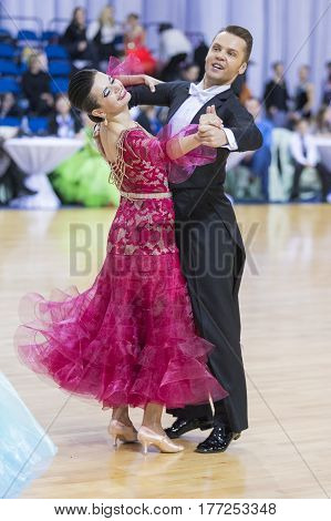 Minsk Belarus-February 18 2017: Senior Dance Couple of Goncharoiv Oleg and Borisenok Evgeniya Performs European Standard Program on WDSF Minsk Open Dance Festival-2017 Championship in February 19 2017 in Minsk Belarus.