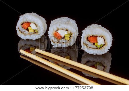 Maki Sushi Over Black Background Sashimi Sush