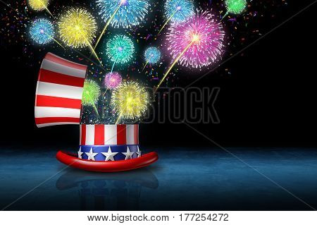 July the fourth celebration as an independence day traditional party to celebrate freedom and American pride with an open flag hat with a fireworks show as a 3D illustration.