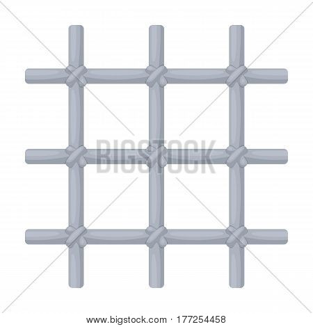 Lattice in the cell of the prisoner. A metal door to hold criminals.Prison single icon in cartoon style vector symbol stock web illustration.