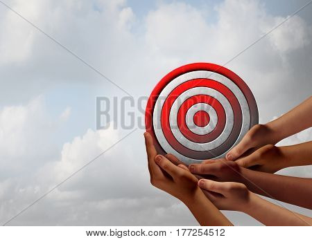 Target audience concept as a group of diverse hands holding a bullseye as a business marketing metaphor for customer and consumer focus group targeting with 3D illustration elements.