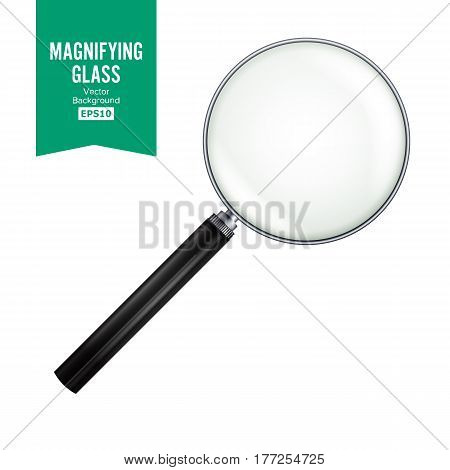 Realistic Magnifying Glass Vector. Isolated On White Background, With Gradient Mesh. Magnifying Glass For Zoom