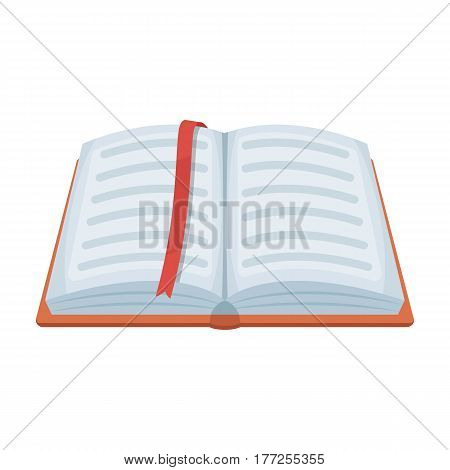 Opened notepad with pencil and pen in top view. Sketchbook or diary. Notebook with red bookmark. A notebook at school.School And Education single icon in cartoon style vector symbol stock web illustration.