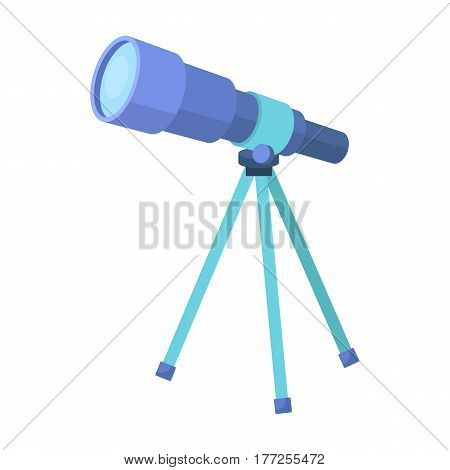 Telescope for schools. Device for astronomy. Device for inspection of the stars.School And Education single icon in cartoon style vector symbol stock web illustration.