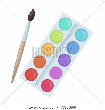 Palette with paints and brush. Paint in school.School And Education single icon in cartoon style vector symbol stock web illustration.