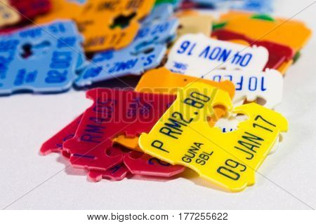 A Collection of Expired Date and Price Tags