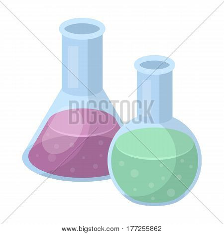 Flasks with reagents. Chemistry in school. Chemically, experiments.School And Education single icon in cartoon style vector symbol stock web illustration.