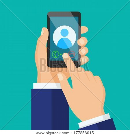 Receiving phone call concept. Dialling calling on the mobile phone. Hand holding smart phone in modern flat style design.