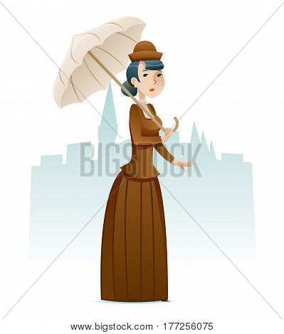 Victorian Lady Wealthy Businesswoman Cartoon Character Icon on Stylish English City Background Retro Vintage Great Britain Design Vector Illustration