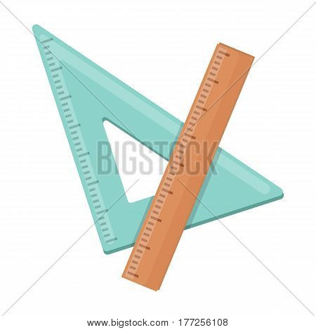 Ruler and triangle. Devices for school drawing.School And Education single icon in cartoon style vector symbol stock web illustration.