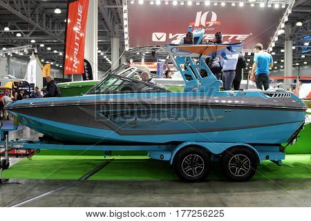 MOSCOW - MARCH 09 2017: Boat Nautique Super Air GS for 10 International boat show in Moscow. Russia.