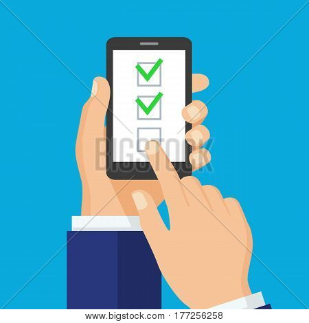 Checkboxes on smartphone screen. One hand holds smartphone and finger touch screen. Checkboxes and checkmarks. Modern concept for web sites infographics. Flat design vector illustration.