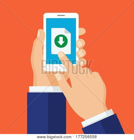 Hand holds smartphone finger touches button. Downloading process concept. File download with phone concept for web banners web sites infographics. Modern flat design vector illustration.