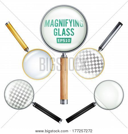 Realistic Magnifying Glass Vector. Set Of Different Magnifying Glass. Different Colors Of lenses