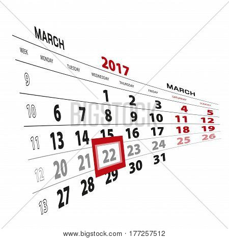 22 March Highlighted On Calendar 2017. Week Starts From Monday.