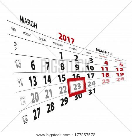 23 March Highlighted On Calendar 2017. Week Starts From Monday.
