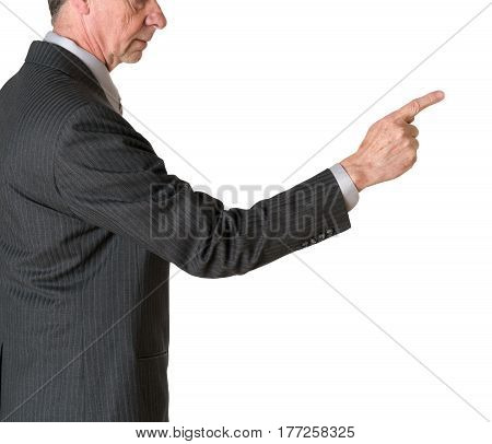 Senior caucasian businessman or executive isolated against white background. Subject is in profile and pointing finger