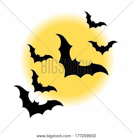 vector halloween night moon horror bat background
