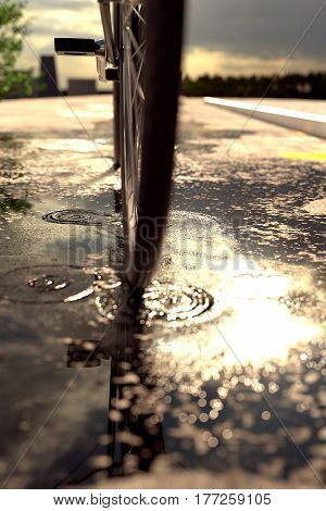 3d rendering of bicycle tire standing on puddle in front of blurred asphalt and evening sunshine
