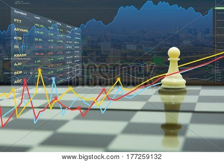 pawn on king shadow and stock market concept business