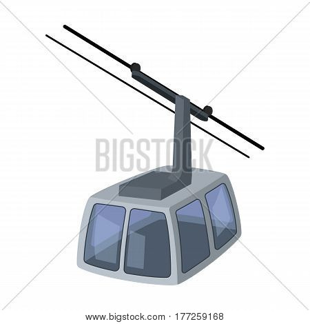 Cable car. Funicular for climbing in the mountains. Holiday winter transport.Transport single icon in cartoon style vector symbol stock web illustration.