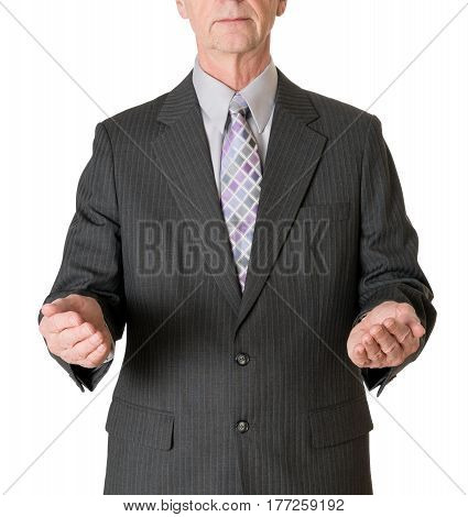 Senior caucasian businessman or executive isolated against white background. Subject is facing camera and has arms out to hold a large object