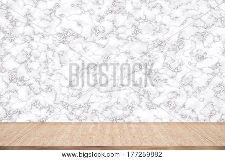 Abstract natural wood table texture on marble background top view of plank wood for graphic stand product interior design or montage display your product.