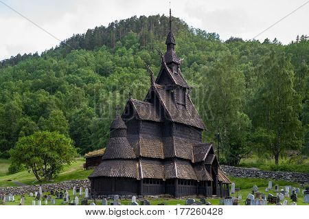 Borgund wooden Stave Church close view. Historical attraction and popular travel destination. Near Laerdal, Norway.
