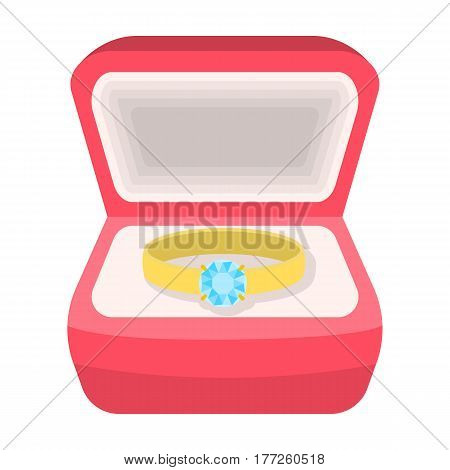 Wedding ring with a diamond in a box. Gift to the bride.Wedding single icon in cartoon style vector symbol stock web illustration.