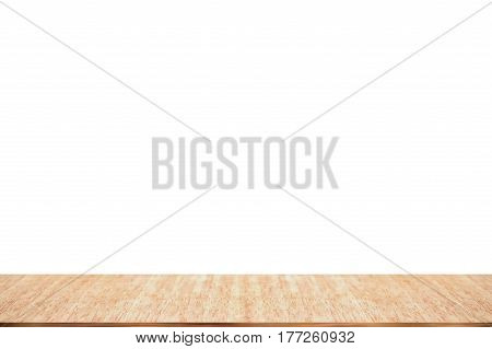 Empty wood table top isolate on white background can be used for display or montage your products.