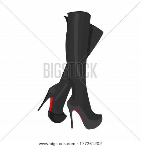 Leather high-heeled women sexy shoes.     Woman clothes single icon in cartoon style vector symbol stock web illustration.