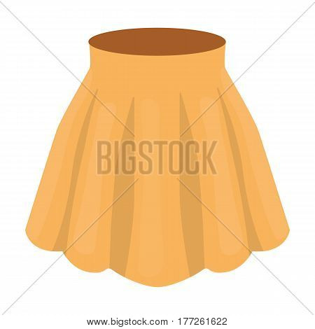 Orange women s light summer skirt with pleats. Beautiful women s summer clothing. Woman clothes single icon in cartoon style vector symbol stock web illustration.