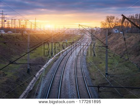Fantastic Industrial Landscape With Railway Station