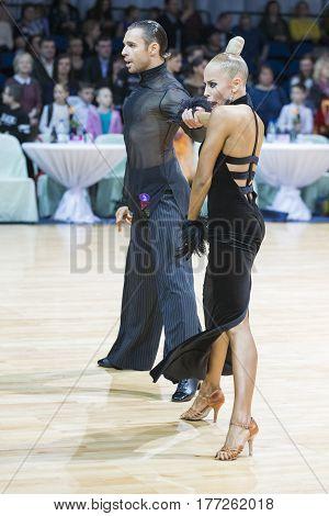 Minsk Belarus-February 19 2017: Unidentified Professional Dance Couple Performs Adults Latin-American Program on WDSF Minsk Open Dance Festival-2017 on February 19 2017 in Minsk Belarus.