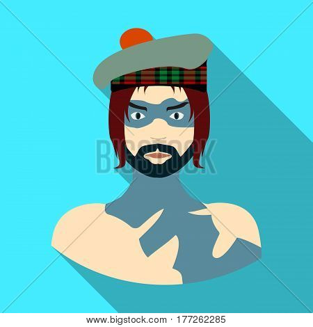 A Scotsman with long hair and a beard.A man in a Scottish headdress.Scotland single icon in flat style vector symbol stock web illustration.