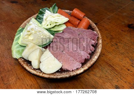 corned beef platter with cabbage carrots potatoes for St. Patrick's Day