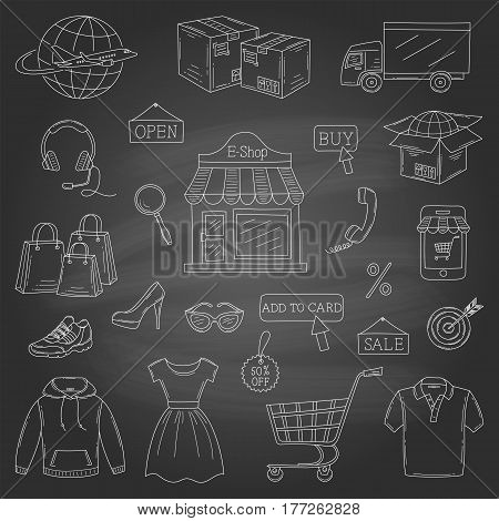 Vector set of hand drawn online shopping icons isolated on chalkboard background.